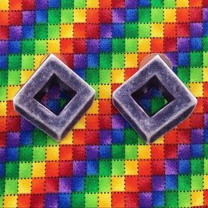 Retro 3D Square Geometric Stud Earrings